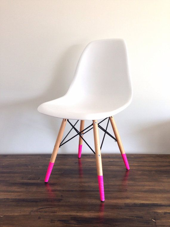Love the look of dipped furniture but can't commit? WASHI TAPE IT!   Solid neon pink washi tape by willowwashi on Etsy