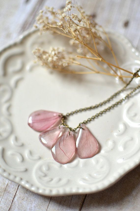 real petal necklace