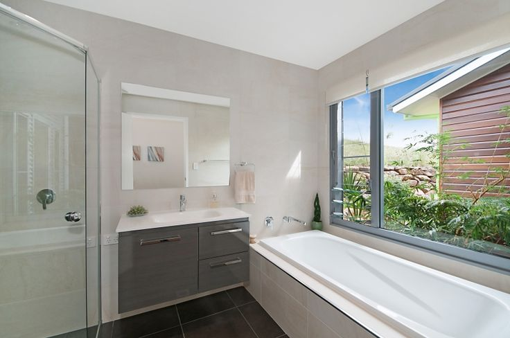 A bathroom with a garden view Floreat Park - Multi Split Level Home - www.delcasahomes.com.au #bathroom #wallhungvanity