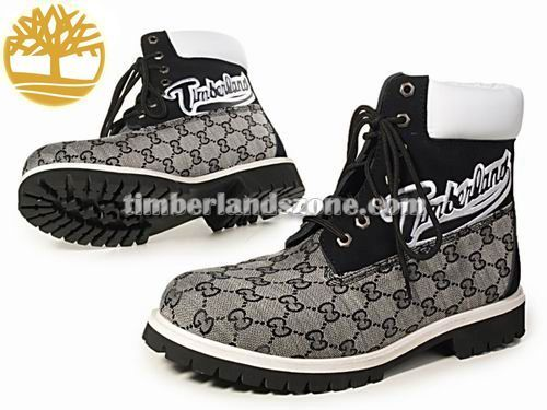 Cheap Timberland Men's 6-Inch Surface Printing Classic Boot In Grey Black White With Logo $ 83.99