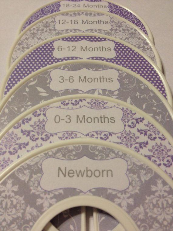 6 Custom Baby Closet Dividers Organizers Shabby Chic Grey and Lavender - Custom Baby Closet Clothes Organizers