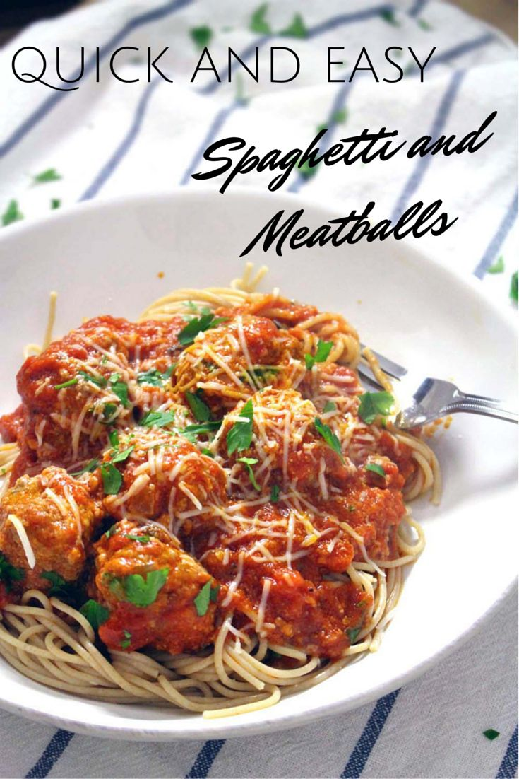 Quick and Easy Spaghetti and Meatballs | In this quick and easy version, meatballs are cooked by simmering in marinara sauce on the stovetop. With authentic Italian flavors, this is a simple yet elegant, no-fuss meal!