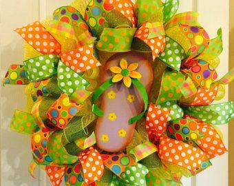 Summer Mesh Wreath Summer Deco Mesh Wreath Deco by DeeVineDeeZines