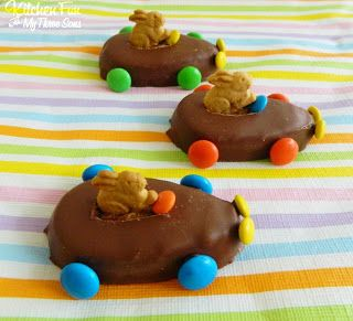 Easter hunt race cars. Just use Reese's egg, M & M's and Bunny Graham's.