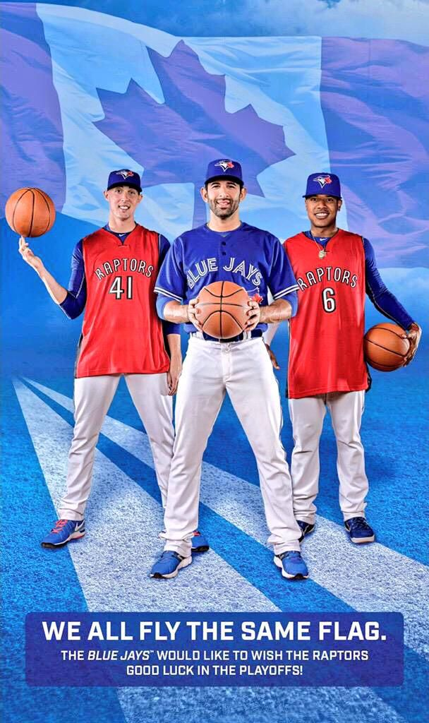 The Toronto Blue Jays (Aaron Sanchez, Jose Bautista, Marcus Stroman) showing The Toronto Raptors some love as they head into the 2015 NBA Playoffs