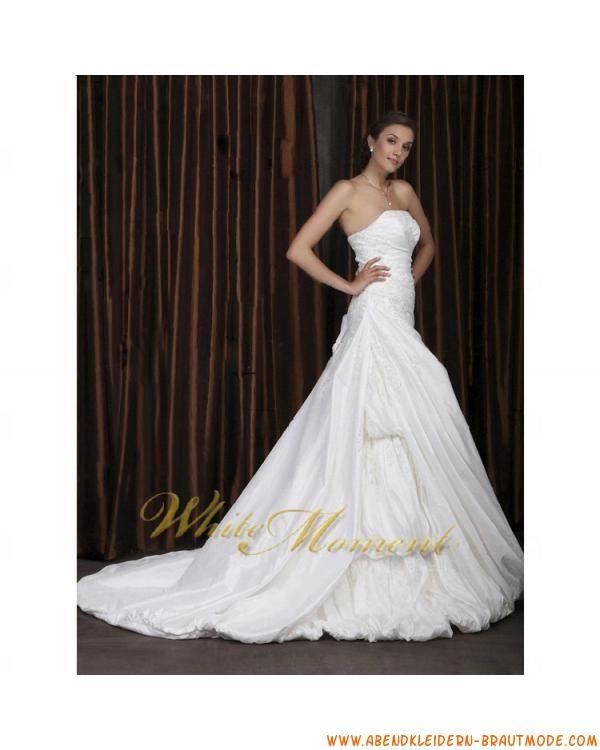 Wunderschne klassische Brautkleider 2012 Bestverkauft aus Satin A-Linie mit Schleppe