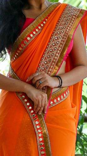 Orange saree pretty border