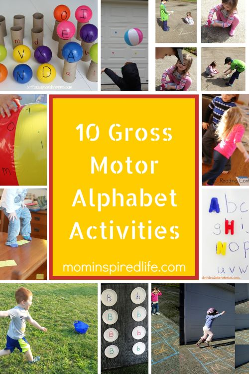 As you know, we love gross motor alphabet activities around here. Preschoolers love to play and learn and often that means moving while learning. This is
