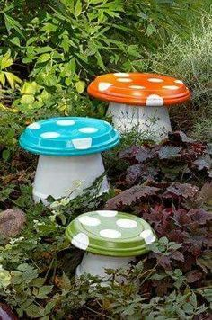 Garden mushrooms made from clay pots and saucers