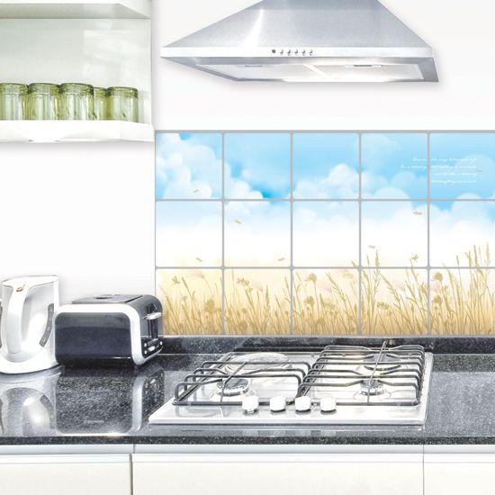 Масло стена наклейки высокая термостойкость водонепроницаемый плитка наклейки алюминиевая фольга бумага синий небо