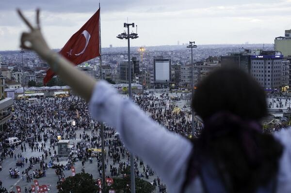 occupygezipics: View from the Ataturk Cultural Center rooftop on Sunday.