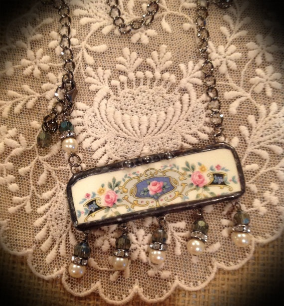 broken china jewelry necklace just beautiful by