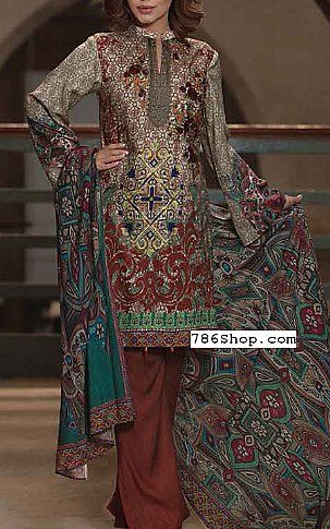 Multicolor Twill Linen Suit | Buy Zara Ali Pakistani Dresses and Clothing online in USA, UK