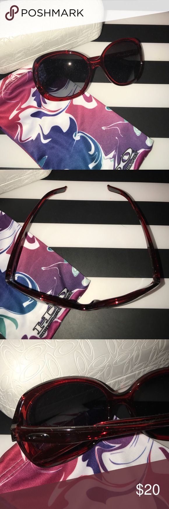 Oakley Backhand Sunglasses Oakley Backhand oversized women's sunglasses. Red frames with gray gradient lenses. NWOT, never worn, comes with hard case and soft cloth bag. Oakley Accessories Sunglasses