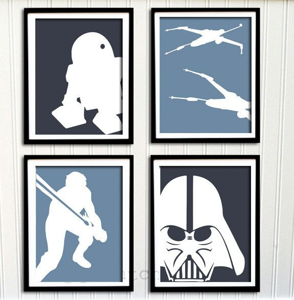 Star Wars Print Set - Boys Nursery or Room, Boys Decor, Personalized Print - (4) 5x7