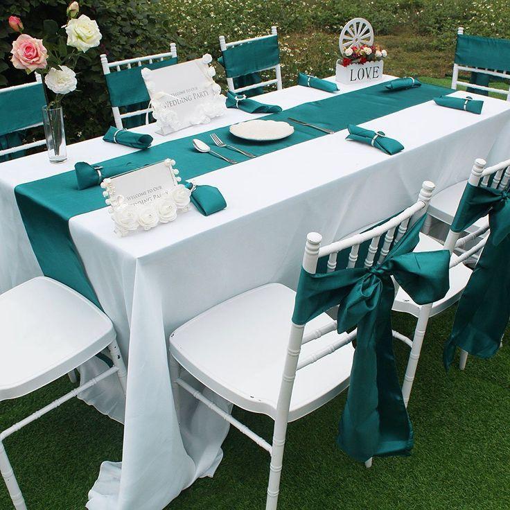 "Amazon.com: Wedding Decorations,Aytai Party Combo Kit - 1Pcs Satin Table Runners 108 Inches & 8Pcs Satin Chair Sashes & 8Pcs 12"" Square Polyester Napkins & 8Pcs Napkin Rings (Teal Blue): Home & Kitchen"