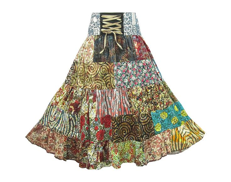 Faldas de capas - Boho Hippie 5-Tier Patchwork Broomstick Skirt - hecho a mano por coconutwoww en DaWanda