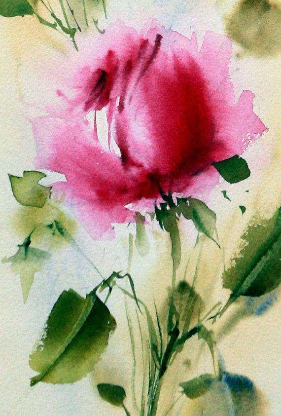 100 % original signé Roses fleur aquarelle peinture oeuvre