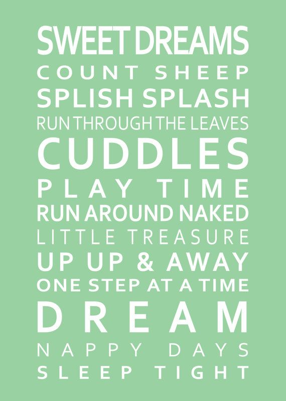 Sleep Tight Poster for Childs Nursery 11 x 14in or by GraceHawk