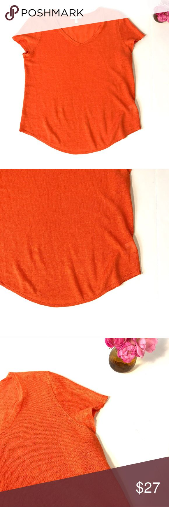 Eileen Fisher organic 100% Linen orange t shirt xs Eileen Fisher 100% organic linen lightweight knit short sleeved t-shirt in orange. Women's size extra small.  This shirt is in gently used condition with light wear, no holes, and no stains. Please take a look through the photos to see if this item is right for you! Eileen Fisher Tops Tees - Short Sleeve