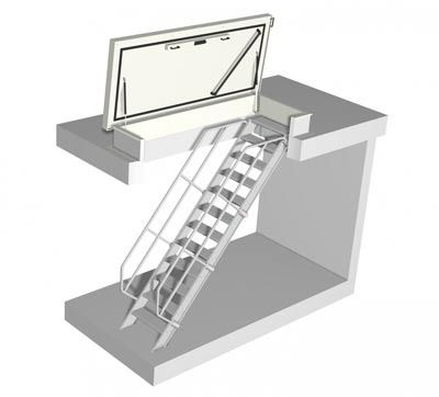 roof access hatch with fixed stairs staka