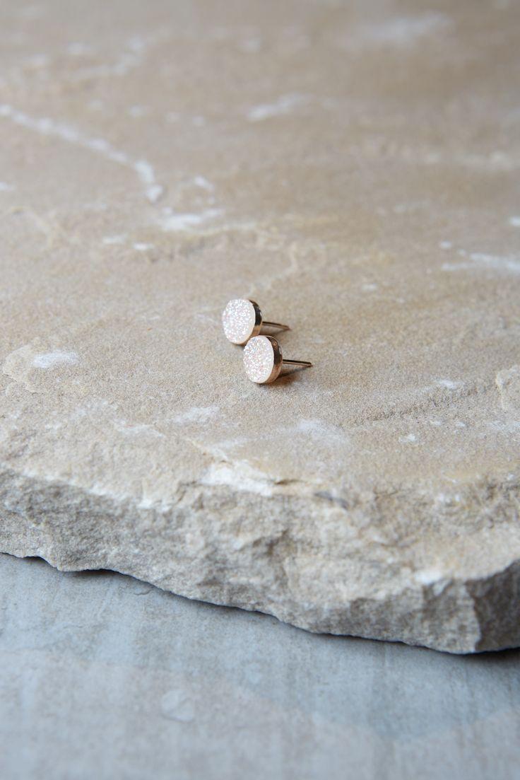 Druzy Earrings Features 2 8mm White Druzy Stones Set In 14k Gold