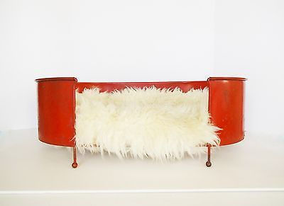 Mid-Century-Modern-Rust-Red-Tole-Dog-Cat-Pet-Bed-with-Sheepskin-Fleece