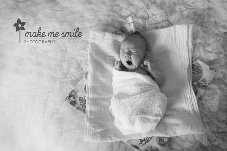 Canberra Newborn Photography, Make Me Smile Photography, Wrapped, Yawning, Black and White