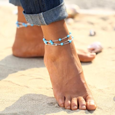 Summer Beaded Ankle Bracelet   Anklet (Gold Chain)