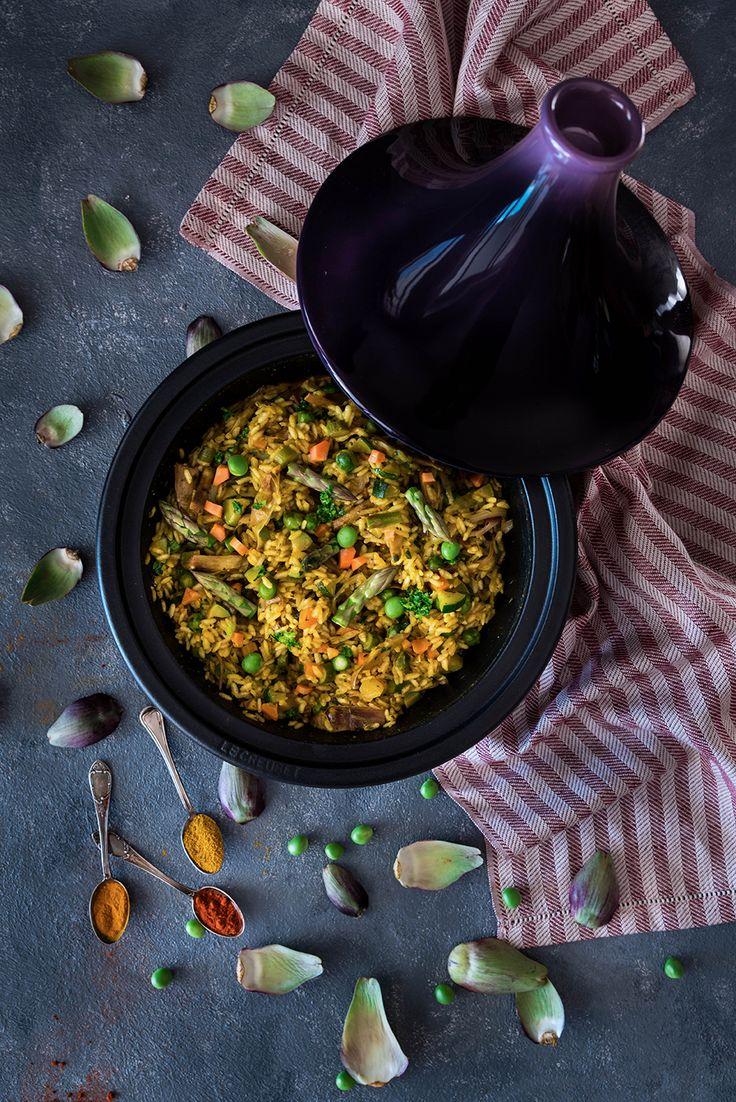 Riso in tajine con verdure primaverili e spezie