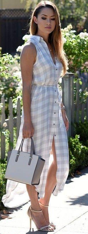 #summer #street #style | Summer Plaid Shirt Dress