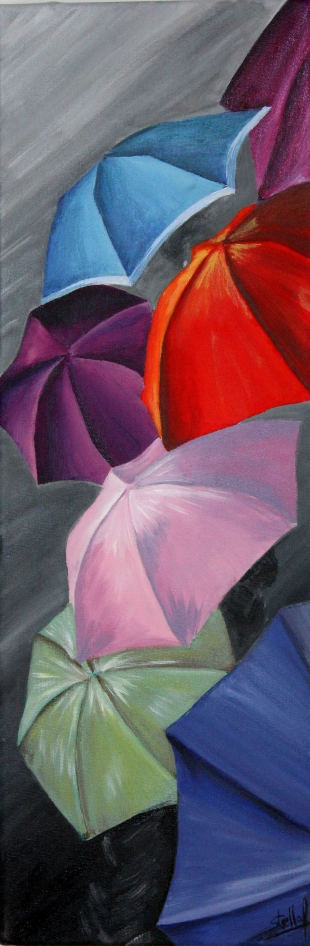 Parapluies sous la pluie : Peintures par by-stella