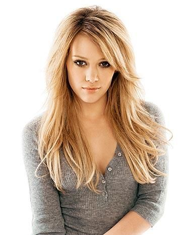 Hilary Duff, layers and side bangs from the front