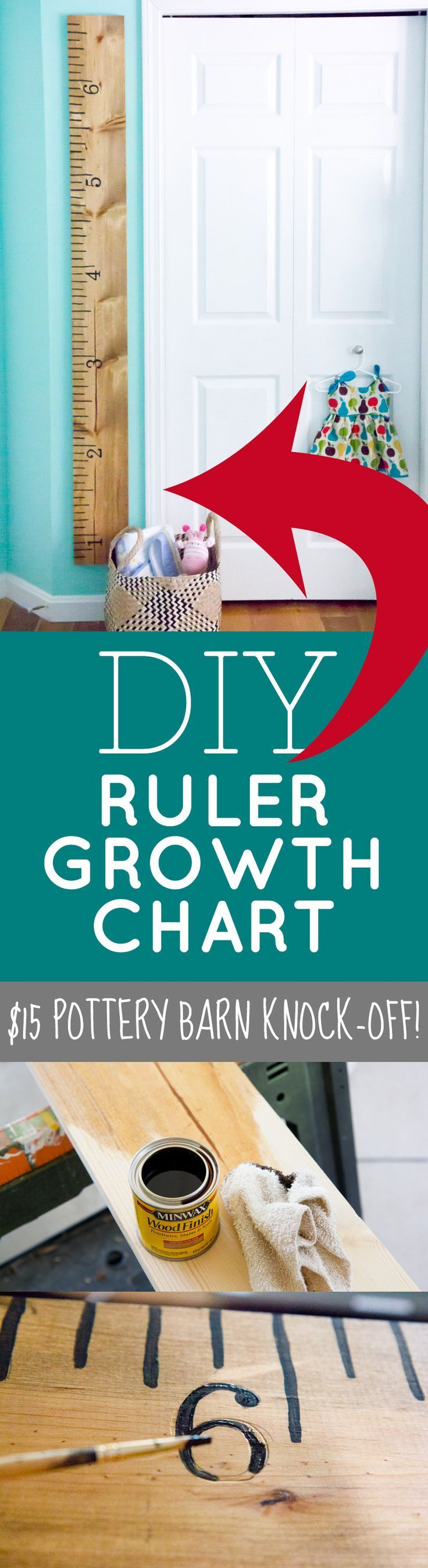 DIY Ruler Growth Chart  Such an easy craft that you can DIY! Sweet addition to any home with kids growing in it...