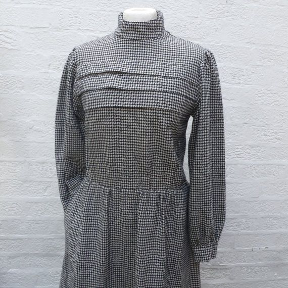 Handmade dress womens clothing office clothes vintage wool dress 80s houndstooth ladies vintage clothing tailored dress secretary gift women