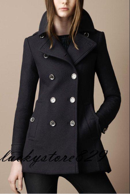 Manteau d'hiver femme noir OL laine double bouton par luckystore829, $79.00