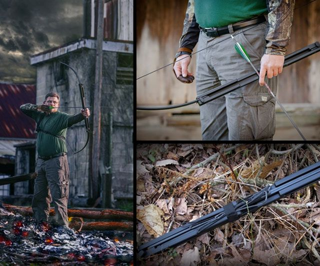 """The Compact Folding Survival Bow is a patent-pending one-piece takedown bow milled from T-6 6061 aircraft grade aluminum and fitted with fiberglass bow limbs. According to vendor Primal Gear the long bow that bends and tucks into a 23"""" short riser is the only folding bow on the market designed with survival in mind."""