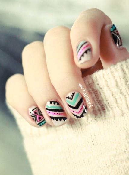 Nail Art #black #pink #turquoise #aqua #nailpolish #nailart #tribal #design #polish  #nail #nailart #art #polish #nailpolish #nails #women #girl #shine #silver #white #blue #color #colorful #style #trend #fashion
