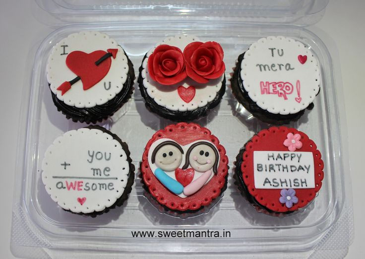 Homemade Eggless 3D customized, personalized, handcrafted, designer, fondant Valentine/Love theme birthday cupcakes for husband at Pashan, Pune