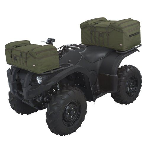 Classic Accessories 15-045-011405-00 QuadGear Olive MOLLE Style Front Rack ATV Bag  Classic Accessories 15-045-011405-00 QuadGear Olive MOLLE Style Front Rack ATV Bag Put the ultimate in customized payload design on your ATV with this ATV front rack bag with tactical MOLLE attachments. The MOLLE web loops allow you to attach or lash on a wide variety of MOLLE accessories or tools in addition to the considerable payload capacity of this ATV front rack bag. It attaches quickly to the f..