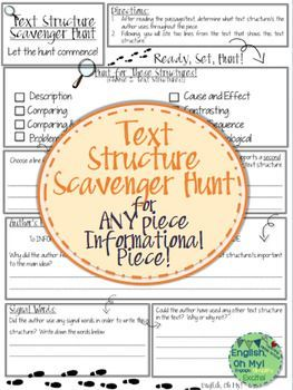 *****Text Structure Scavenger Hunt******You are going to love, love, love this product! This text structure scavenger hunt can be used for any informational text. The piece asks for your students to find two text structures from the list, identify the authors purpose, analyze words, and answer questions about the text structure.*You can have your students work on this individually, pairs, as a group, and you can make it a challenge and competition!