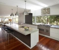 Modern kitchen black white SMS jarrah floor