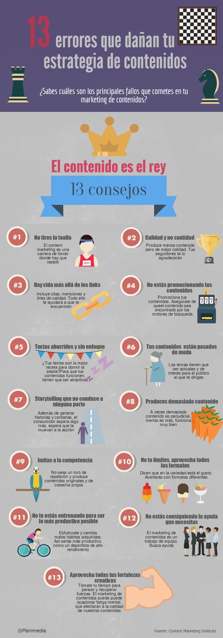 13 errores que dañan tu estrategia de contenidos. Infografía en español. #CommunityManager