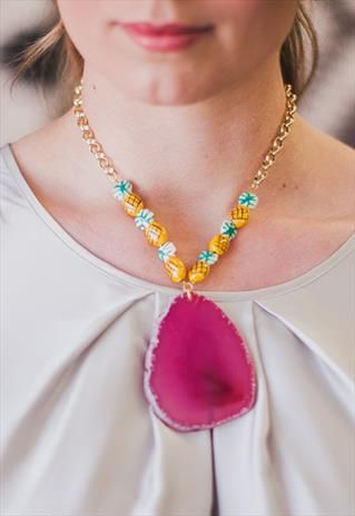Pink Pina.Large pink agate slice, ceramic pineapple bead necklace from Shh by Sadie on ASOS Marketplace. Shhbysadie.com