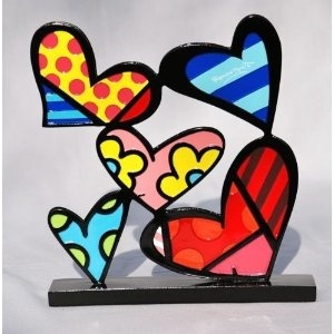 9. Hearts ~ Artist Romero Britto Heart Sculpture