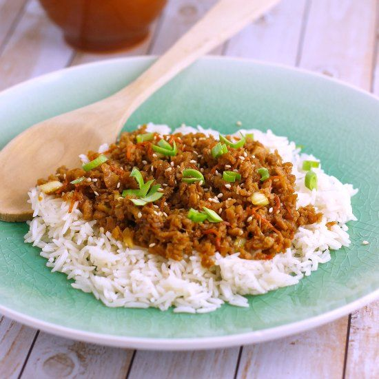 This vegan version of bulgogi made with Texturized Vegetable Protein. No worries if you're not keen on TVP, any ground meat can be used as a substitute makingitan omnivore friendly meal.