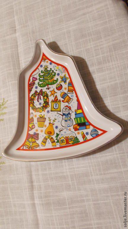 Блюдо Винтаж Колокольчик Рождественский Новогодний Фарфор - белый,блюдо
