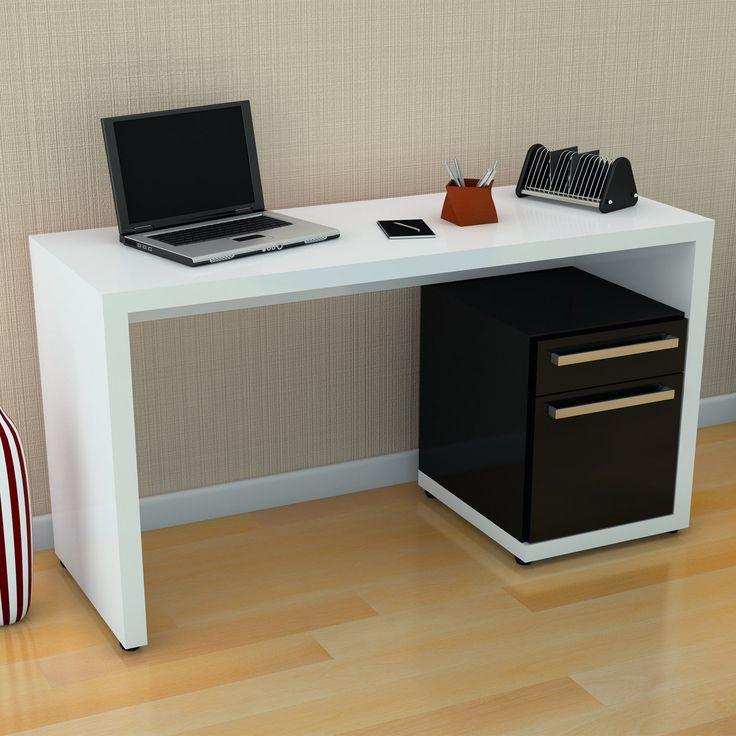 quarto com escrivaninha | Escrivaninha para Computador S970 Branco/Preto - Kappesberg | Lojas KD
