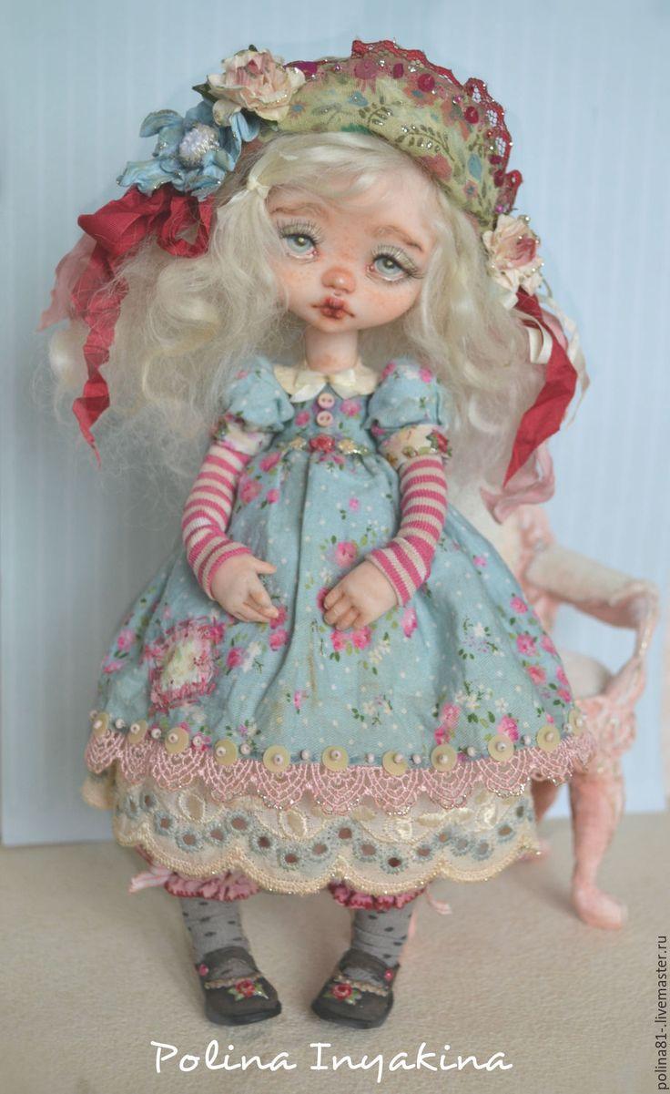 Купить Little Lola - голубой, смешанная техника, кукла ручной работы, кукла в подарок