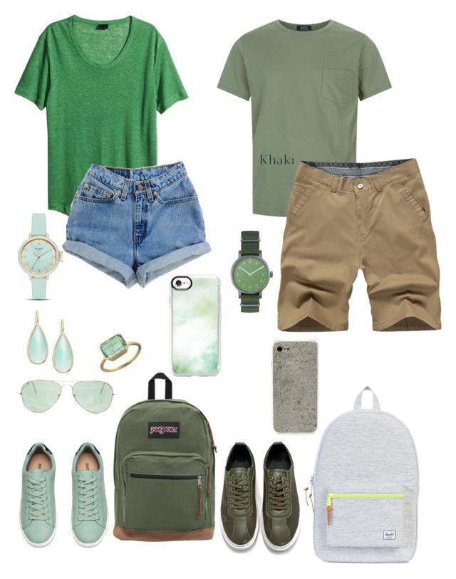 """""""Untitled #90"""" by daddys-princess-taken ❤ liked on Polyvore featuring H&M, JanSport, Casetify, Ray-Ban, Irene Neuwirth, Panacea, Kate Spade, A.P.C., Void and Socofy"""